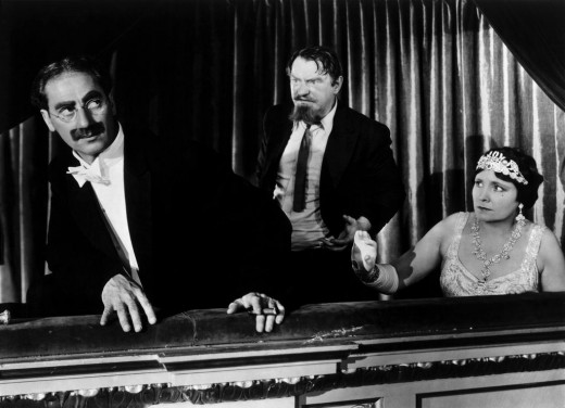 Groucho with Sig Ruman and Margaret Dumont in A Night at the Opera (1935)