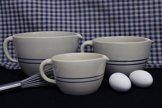 Blue Stripe Stoneware Batter Bowls