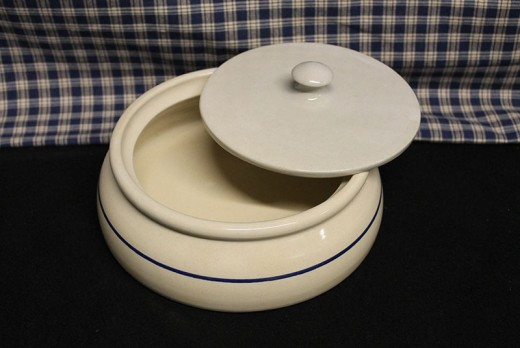 Blue Stripe Stoneware cooking crocks