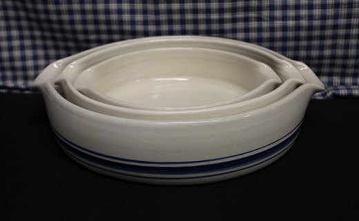 Blue Stripe Stoneware Baking Dishes
