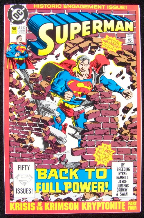 When I was a youngster, my cousin and I would walk to town and buy comic books and a soda at the corner drugstore.  'Superman' was one of my favorites. This issue is in my private collection. It is from December 1990.