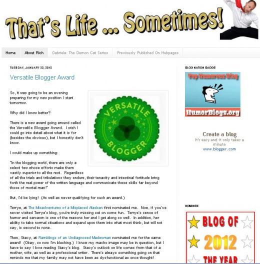 A Screenshot of rcrumple's blog site (Source: Blogger.com)