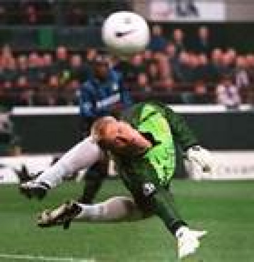 Schmeichel making sure it goes out.