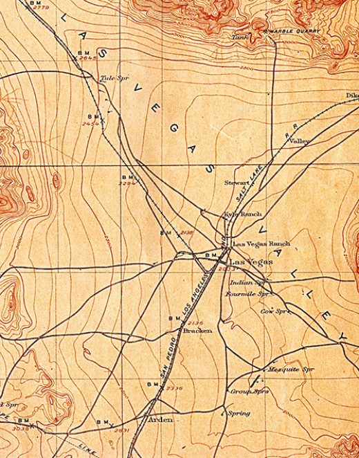 Las Vegas, circa 1908, just after establishment of the railroads
