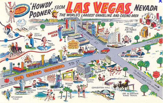 A travel postcard of Las Vegas of the 1950s/1960s
