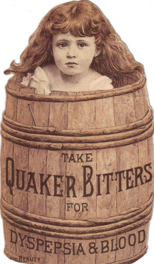 Quaker Bitters for Dyspepsia and Blood, 1880s.  Sold for $12.99