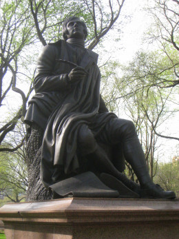 Robert Burns fame has spread throughout the world. This is a statue of the poet in New York's Central Park.
