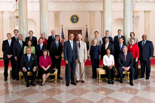 This photo, taken in July 2012, shows President Barrack Obama's Cabinet.
