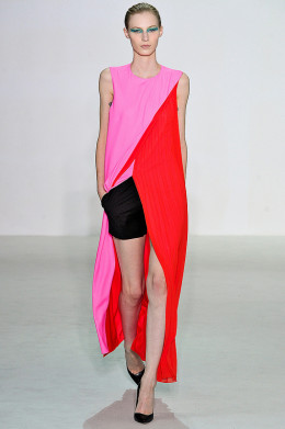 Watch for bright colors like salmon, orange, and aqua for spring 2013. (Christian Dior Spring/Summer 2013)