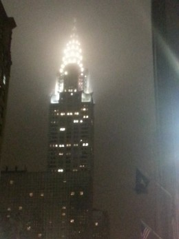 A foggy night captures the Chrysler Building