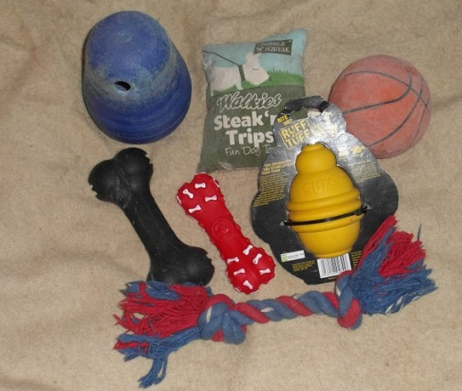 A selection of dog toys