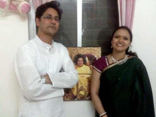 The blessed couple - Tara with Archana at their home in Puttaparthi.