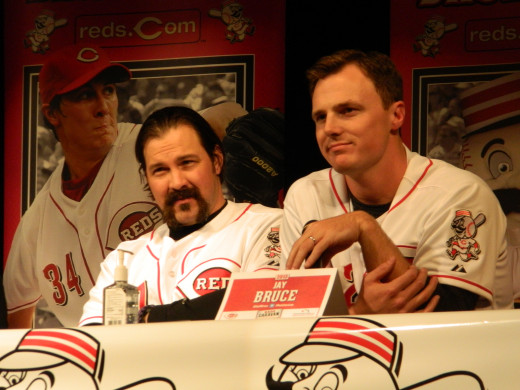 "Veteran catcher Corky ""Fu Manchu"" Miller sat next to Cincinnati Reds right-fielder Jay Bruce at the Reds Winter Caravan stop in Vevay, Indiana on January 24."