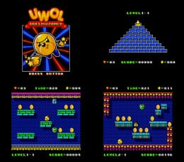 Title Screen, Stage Selection Screen, and Game Screenshots.
