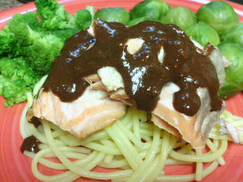 place salmon and sauce on top.