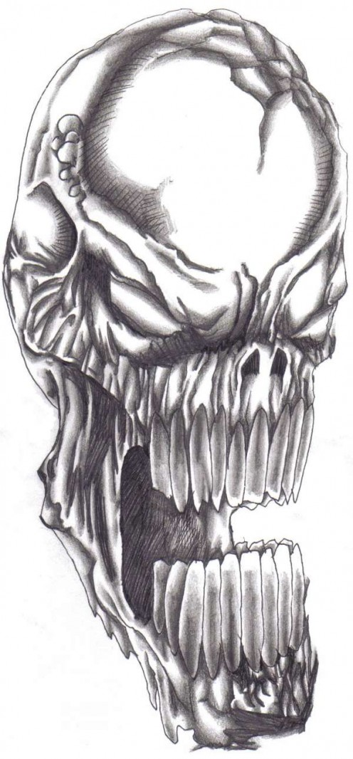 Original sketch of a screaming skull tattoo design that appeared in my