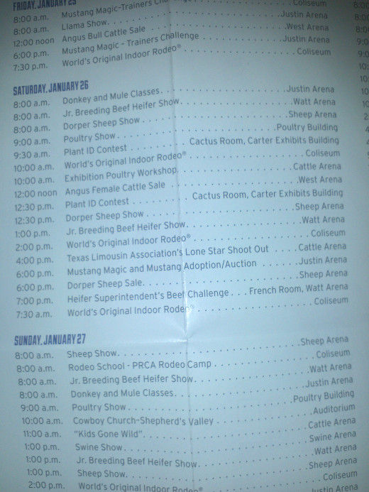 Daily schedule at the Stock Show