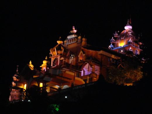 Durga temple illuminated in night lighting