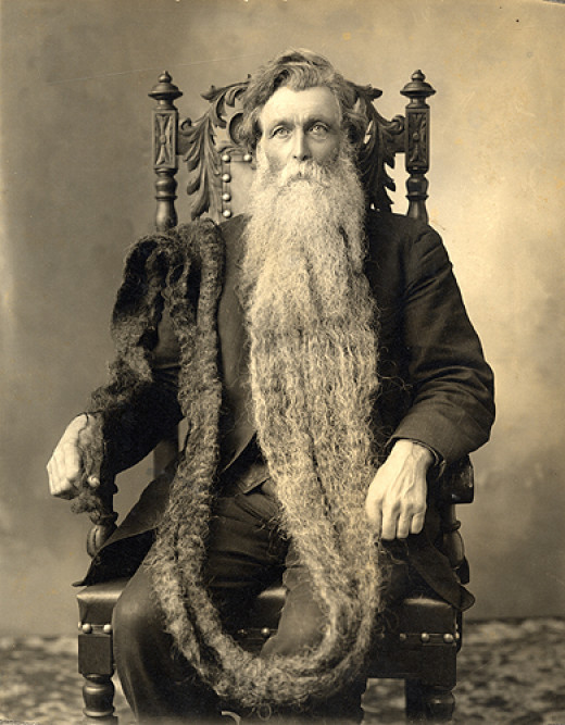 Hans Langseth. World record holder for longest beard. 18 feet, 6 inches.