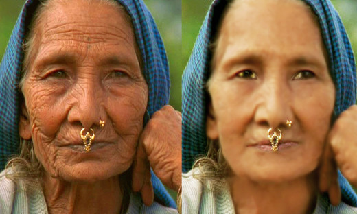 You can do anything with image manipulation program; 20 years are technically taken away from the 76 years old woman.