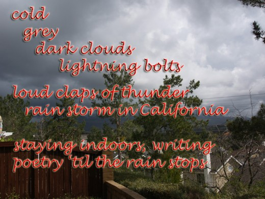 a rainy day in Southern California inspired this 7-line Fibonnaci by Daisy Mariposa