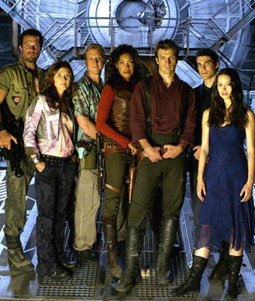 The crew of Serenity (from left to right): Jayne, Kaylee, Wash, Zoe, Mal, Simon and River.