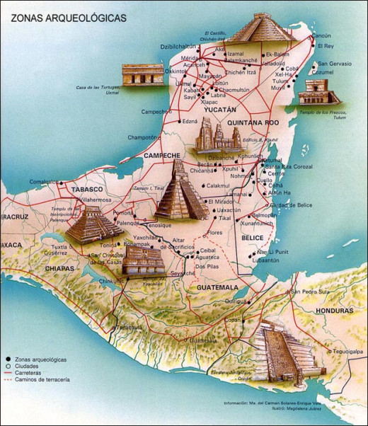 Mayan Regions, Spread across Mexico, Guatemala, Honduras and Yucatan Peninsula