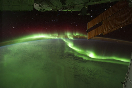 The Southern Lights captured in 2011 from the International Space Station. This amazing light-show is caused by particles from the Sun slamming into Earth's Magnetic Field - when the poles start to swap will these lights be visible in new places?