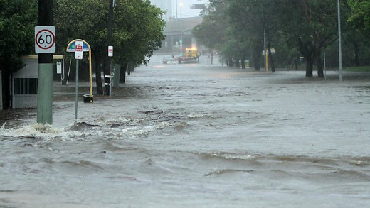 This photo shows the flooding in Brisbane, Australia has already begun.