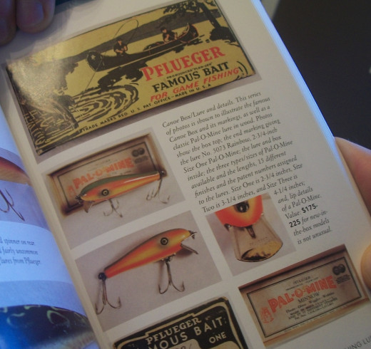 Collectible Fishing Lures by Russell E. Lewis features a photo and information about the artful Pfleuger lure box that was made until the early 1950's.