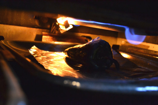 Roasting a Pasilla pepper under the broiler.