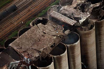 Damage to the tops of the silos