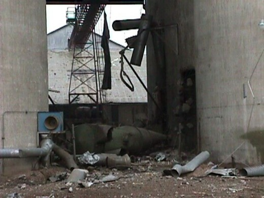 Debris in the elevator area