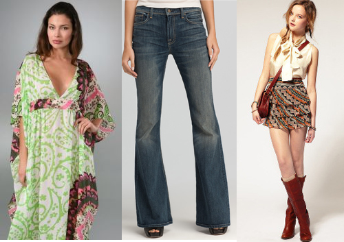 Kaftan Dress - Bell-bottoms Jeans - Mini Skirt