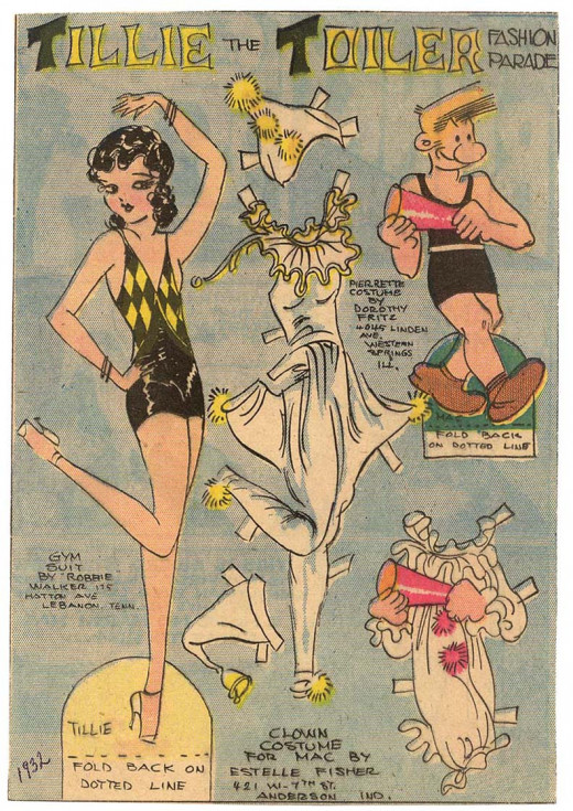 Tilly The Toiler & Mac the clown paper dolls, circa 1932.