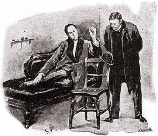 "Sherlock Holmes uses the couch for thinking rather than psychiatry in ""The Blue Carbuncle"", with Dr. Watson. The hat is a clue, just as in a mental health case, many small and large clues can be found in a proper assessment."
