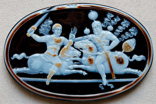 Shapur I of the Sasanian Persian Empire (right) fights Caesar Valerian (left) of the Roman Empire.