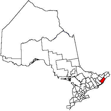 Map location of Leeds and Grenville United Counties, Ontario