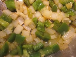 Chopped onions and green peppers