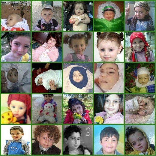 Syrian kids were killed by cluster bombs.