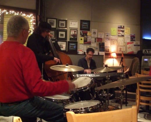 From left to right: Dave Santana, Keith Mohler, and Andy Roberts at the Jazz Jam in Annville, PA.