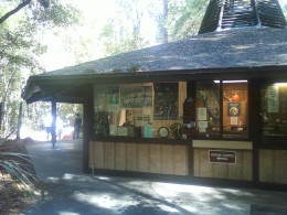 The visitor center at the Devil's Millhopper Geological State Park.  Inside you will find lots of information on the sinkhole displayed in the form of interpretive displays, such as a geological explanation of how the sinkhole formed.