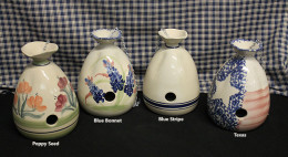 Hand Painted Glazed Stoneware Birdhouses