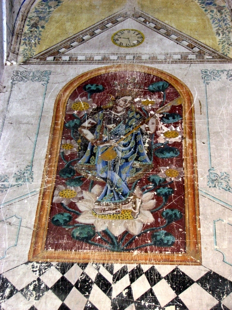 Painting of Goddess Saraswati on the wall of BrindabanChandra temple.