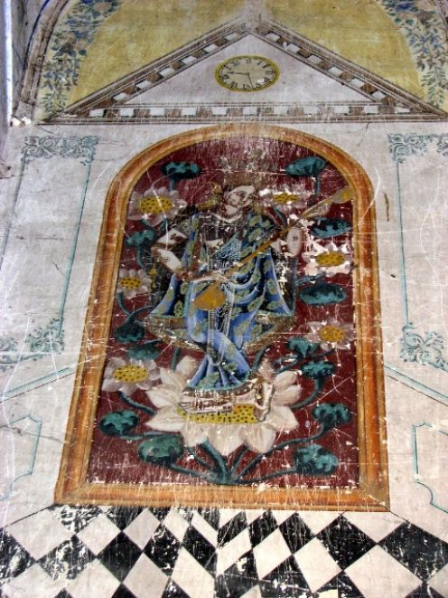 Painting of Goddess Saraswati on the wall of BrindabanChandra temple.
