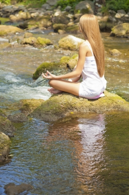 Imagine your thoughts as sticks floating down a river. Simply notice them and then let them float away.