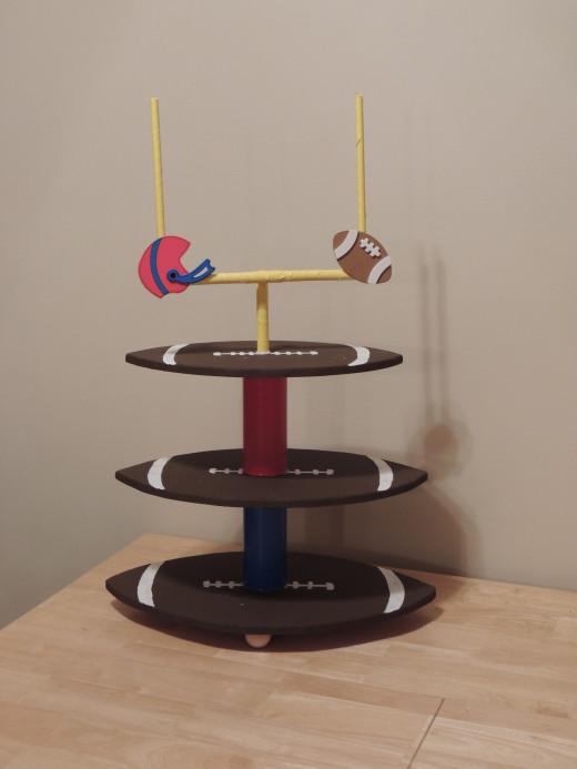 Football shaped cupcake tower
