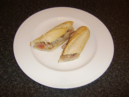 Fresh tuna loin slices are topped by a simple cucumber salsa on a freshly baked baguette