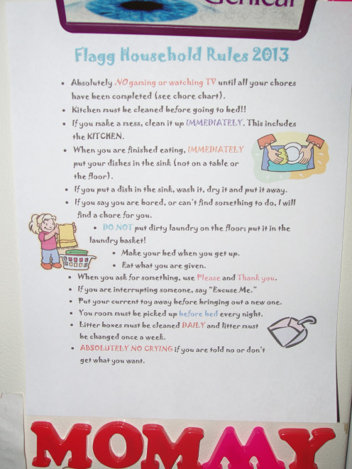 Create a set of family household rules.