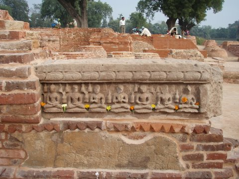 A relief depicting seven  postures of meditation near Dhamekh Stupa.